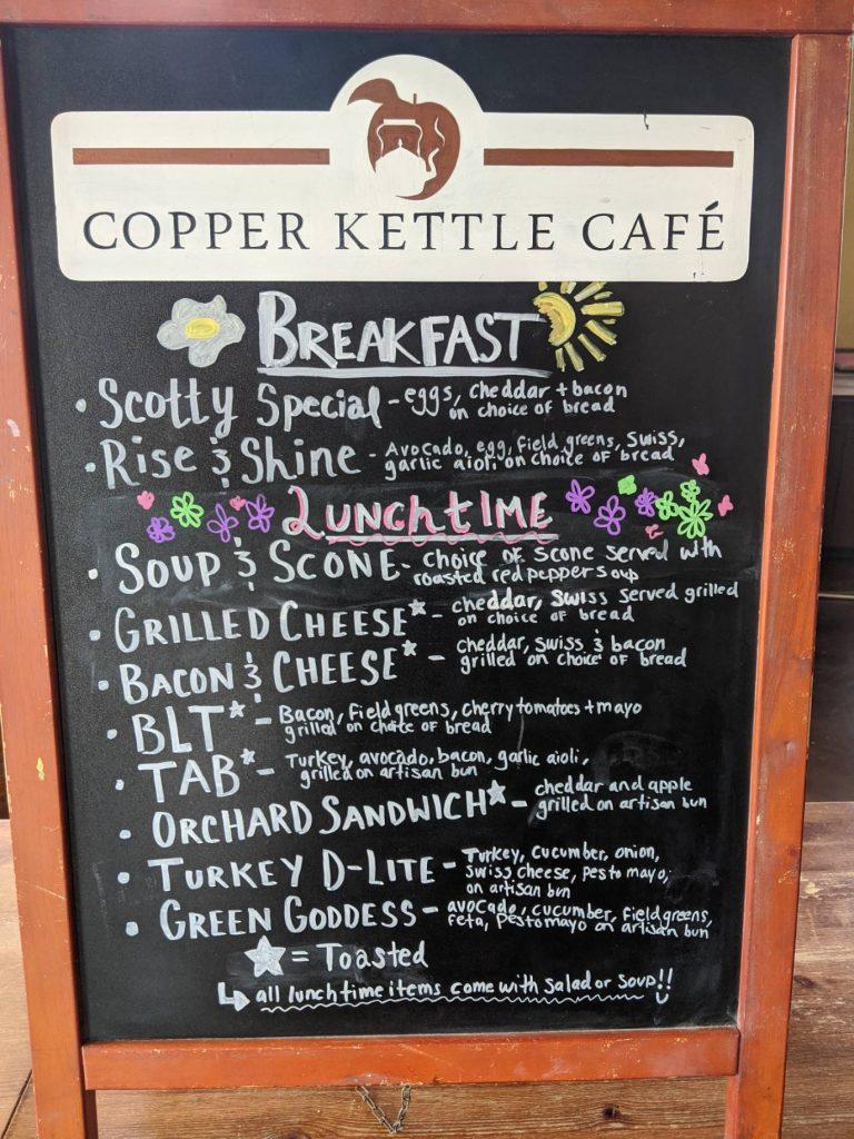 Copper Kettle Temp Menu